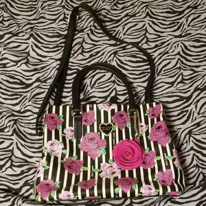 Large Rose black white pin strips roomy bag